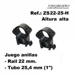 Monturas Zasdar Altura Alta Ø25 mm - 21 mm (Weaver o Picatinny)