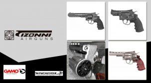 Espectaculares revólveres de co2. Gamo y Winchester